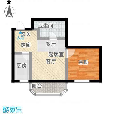 山屏美境47.88㎡一室两厅一卫户型1室1厅1卫
