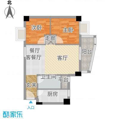 尚境雅筑69.13㎡A4栋03单元户型2室1厅1卫1厨