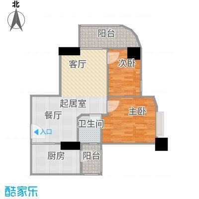 幸福立方8-11、13层08单元户型2室1卫1厨