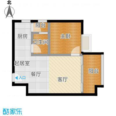 东方苑46.76㎡1号楼2-7层02单位户型1室1卫