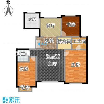 领秀・翡翠山143.00㎡D4顶层户型3室2厅2卫