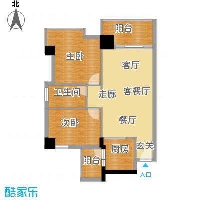 广弘天琪72.46㎡A栋03户型2室1厅1卫1厨