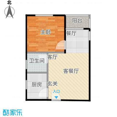 朱雀坊51.00㎡朱雀坊1室2厅1卫51平米A户型1室2厅1卫