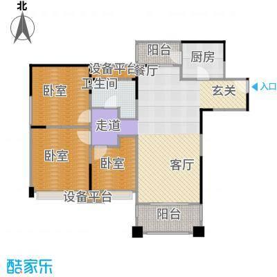 领馆国际城105.45㎡A1户型三室两厅一卫实得面积120.29平米户型3室2厅1卫