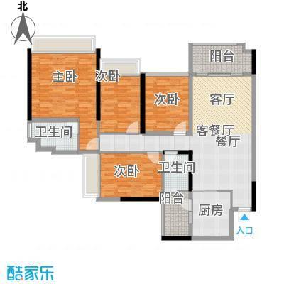 增城雅居乐御宾府133.00㎡123座02/05单位户型4室1厅2卫1厨