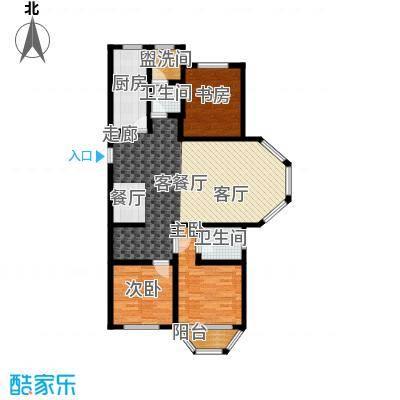 汇豪山水华府119.71㎡6号楼B1户型3室1厅2卫1厨