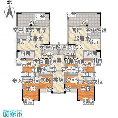 金易伯爵世家119.63㎡金易伯爵世家一期3幢标准层B1/B2户型3室2厅2卫1厨 119.63㎡户型3室2厅2卫