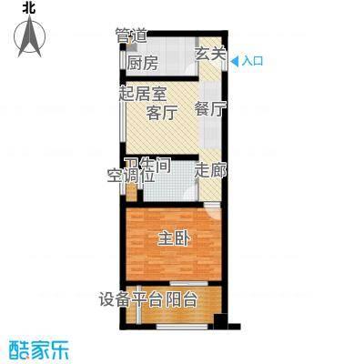吾悦生活广场住宅A型户型1室1卫1厨