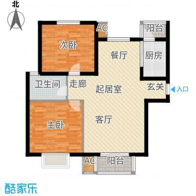 浩友凤凰城两室两厅一卫一厨88.89平米户型QQ