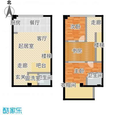 UP生活64.24㎡UP生活户型图loft2号楼两室三厅两卫(2/7张)户型2室3厅2卫