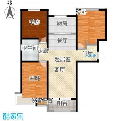 润达万科金域蓝湾116.00㎡B户型三室两厅一卫116平米户型3室2厅1卫