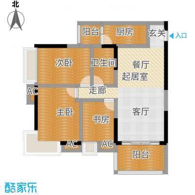 保利中辰广场B1栋03单元户型3室1卫1厨