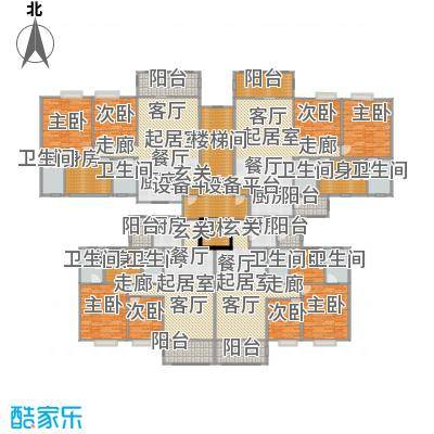 阳光雅居五号楼三至十一层平面图户型9室8卫4厨