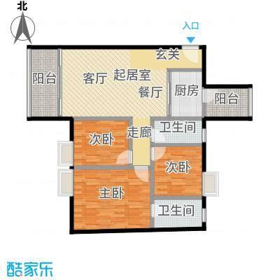 东方苑99.52㎡4号楼2-15层01单位户型3室2卫1厨