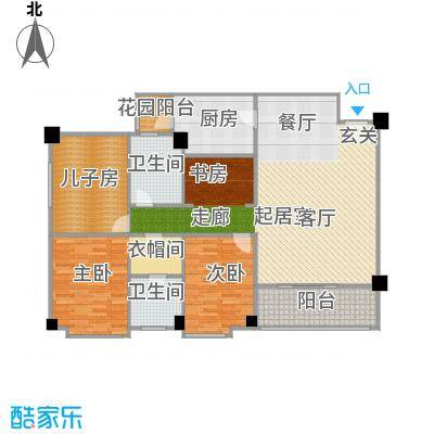 明月东山131.00㎡中式风格户型2室2卫1厨