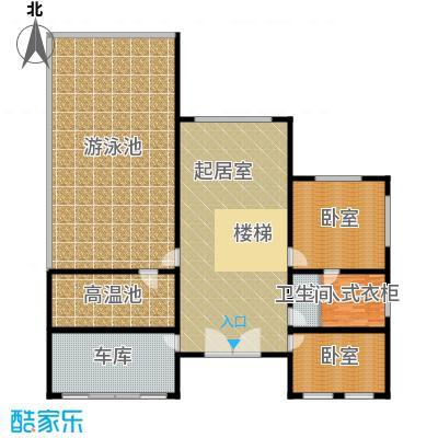 北京龙脉温泉花园569.37㎡公寓乙型别墅楼二层平面图户型1卫
