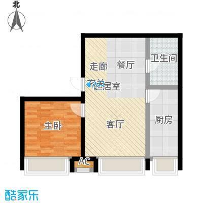颐和星海77.00㎡C户型2-3# 一室二厅一卫户型1室2厅1卫