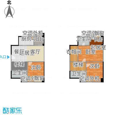 保利百合花园98.00㎡A4户型 三室两厅三卫 实得面积约142平米户型3室2厅3卫