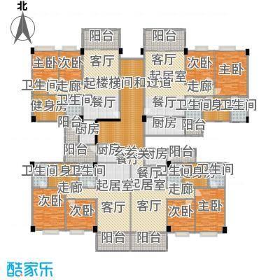 阳光雅居四号楼三至十一层平面图户型8室8卫4厨