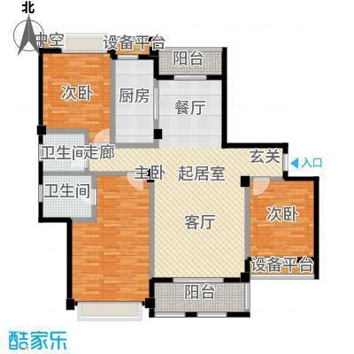 城市空间128.61㎡城市空间户型图G5(2/6张)户型3室2厅2卫