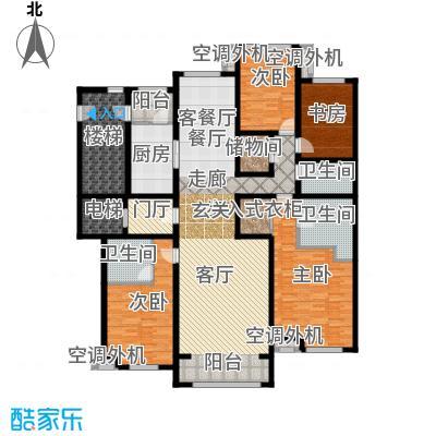 华润公元九里219.00㎡H户型 两室两厅两卫户型2室2厅1卫