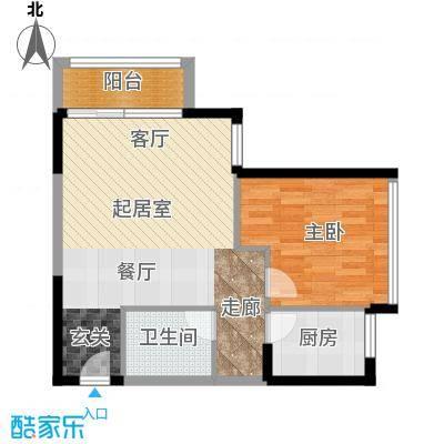 天安菁华公寓74.00㎡A2户型1室1卫1厨