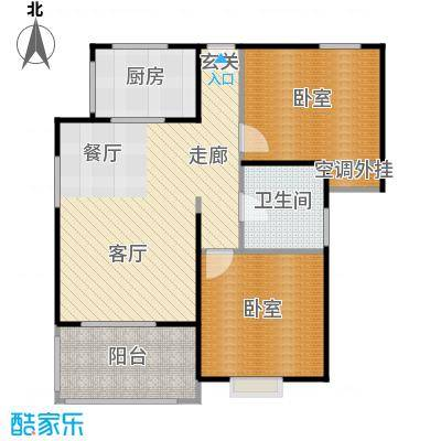 高新第五季86.00㎡两室两厅一卫86.05平米D户型