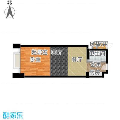 绿地壹中心58平米酒店式公寓户型图户型