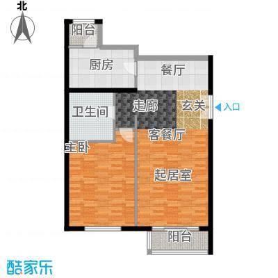 北京华侨城88.31㎡A1-6二单元101D-1反一室户型1室1厅1卫1厨