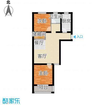 枫逸人家89.57㎡16#楼G1户型2室1厅1卫1厨