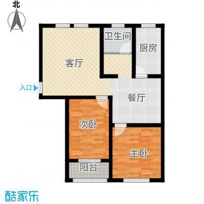 枫逸人家98.66㎡16#楼F户型2室1厅1卫1厨