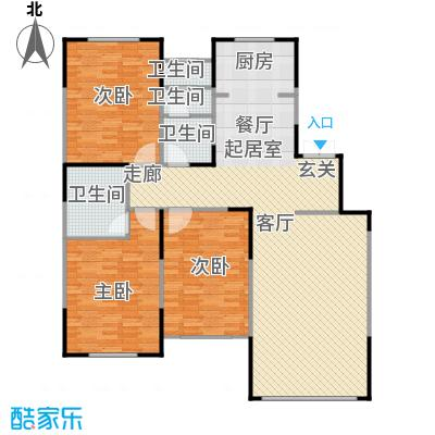 融侨观邸137.00㎡E2户型 三室二厅二卫户型3室2厅2卫