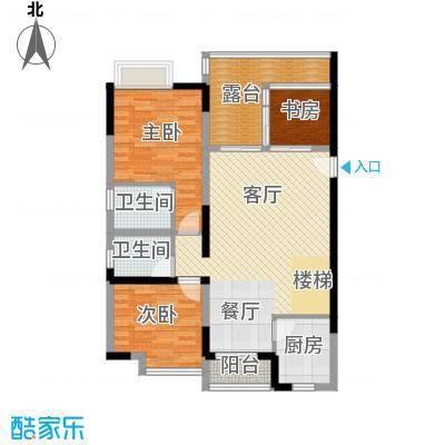 汇景上层97.31㎡户型3室1厅2卫1厨
