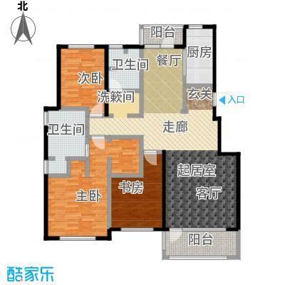 百合花园139.00㎡K户型 三室两厅一厨户型3室2厅1卫