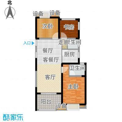 招商花园城109.00㎡C户型三房两厅两卫109平米户型3室2厅2卫