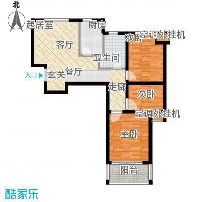 龙德花园89.35㎡1#、3#、4#、5#B2户型三房两厅一卫户型3室2厅1卫