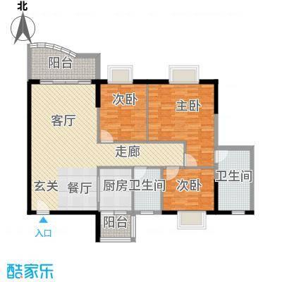 石竹新花园106.30㎡户型3室2卫1厨