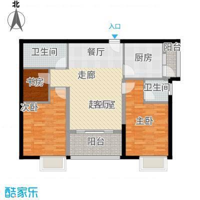 穗和城89.74㎡C栋03单元户型3室2卫1厨