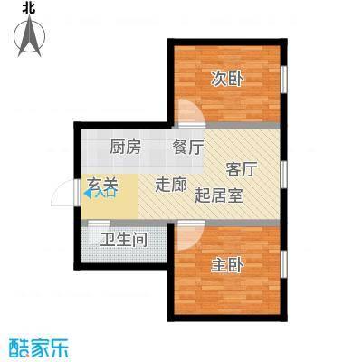 山屏美境63.58㎡两室两厅一卫户型2室2厅1卫-T
