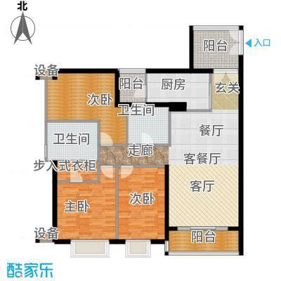 富力公园28B1栋02单位东南向户型3室1厅2卫1厨