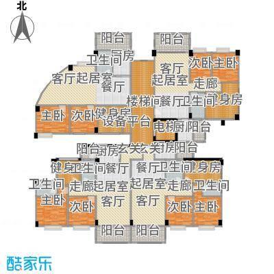 阳光雅居一号楼三至十一层平面图户型8室6卫4厨