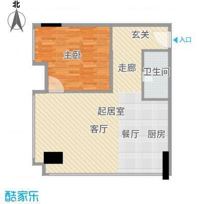 两江国际71.00㎡E户型1室1卫