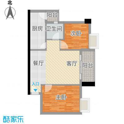广弘天琪65.15㎡A栋05户型2室1厅1卫1厨