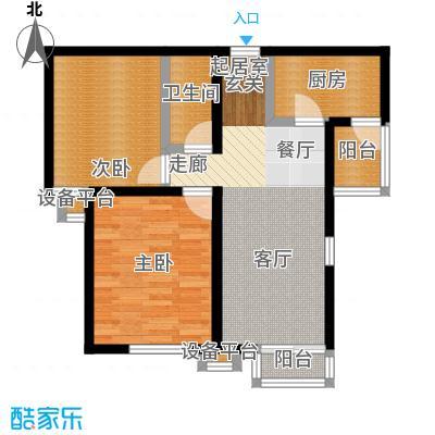 北辰福第03两室两厅一卫户型