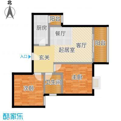 东方苑70.54㎡2号楼2-7层01单位户型2室1卫1厨