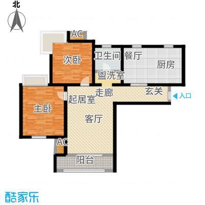 金海湾公寓114.49㎡1、2号楼标准层二室一厅一卫户型-T