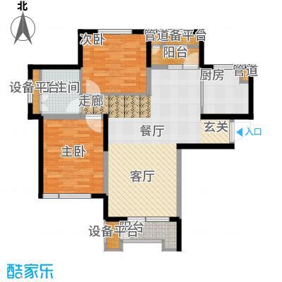 泽天下104.00㎡二期13、17号楼标准层E1户型2室2厅1卫
