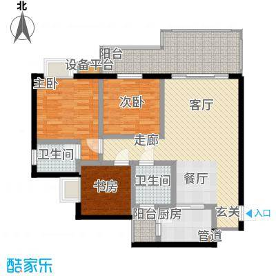 龙乡苑铜新花园102.65㎡3、4、5、6号楼D1户型图 3室2厅2卫1厨102.65㎡户型3室2厅1卫
