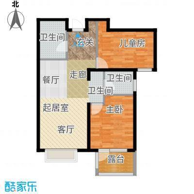 金隅・观澜时代88.00㎡G7`户型2室2厅1卫