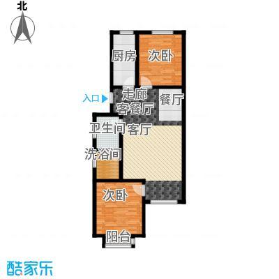 汇豪山水华府78.65㎡6号楼B2反户型2室1厅1卫1厨